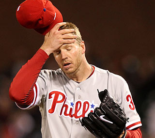 Roy Halladay loses his first game this season and sees his ERA rise to 1.80.  (Getty Images)