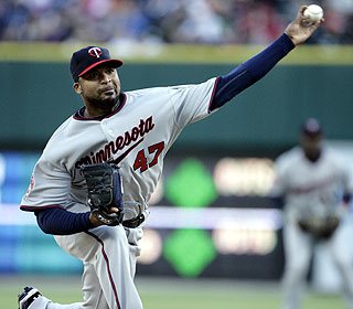 Francisco Liriano strikes out 10 during eight scoreless innings for the Twins.  (AP)