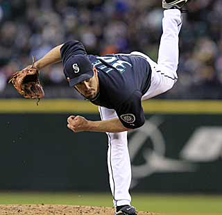 The M's can't blame Cliff Lee for the loss.  Lee is sterling, throwing seven scoreless innings in his debut. (AP)