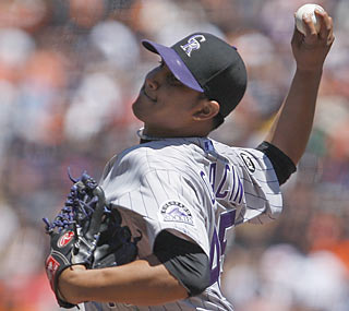 The Rockies get a dynamic effort from Jhoulys Chacin, who yields one hit through seven shutout innings.  (AP)