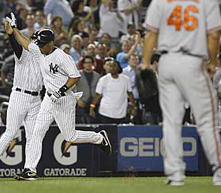 Randy Winn provides the firepower for the Yankees with his three-run blast in the fourth inning. (AP)