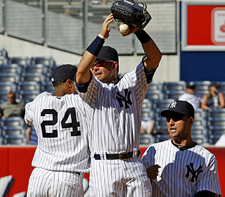 The Yanks complete the three-game sweep after the bullpen almost coughs up a five-run lead. (AP)