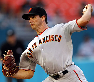 Barry Zito (5-0) goes seven innings -- allowing seven hits -- before running into trouble. (AP)