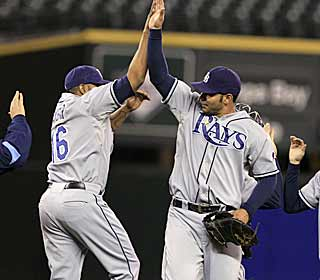 It's easy for the Rays to celebrate. Tampa is off to their best start ever thanks in part to a sweep of the M's. (AP)