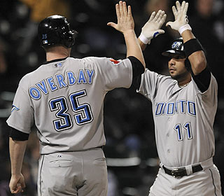 Alex Gonzalez has some celebrating to do after taking J.J. Putz deep in the 12th inning. (AP)