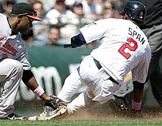 In addition to three hits, Denard Span can include stealing third to his list of accomplishments Sunday. (AP)