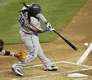 Manny Ramirez gets back into the swing of things and drives in a run for the Dodgers.  (AP)