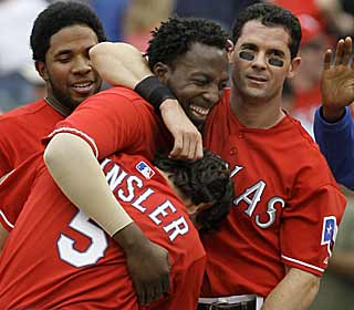 Vladimir Guerrero atones for starting 0 for 5 by knocking in the game-winning RBI for the Rangers. (AP)