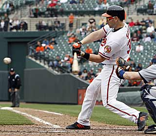 The Orioles rally for five runs in the eighth thanks in large part to a grand slam by Luke Scott. (AP)