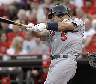 Albert Pujols' eighth homer of the season ends the Cardinals' nine-game homerless drought.  (AP)