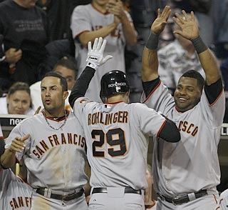 Ryan Rohlinger starts the Giants' winning rally with a two-out single and scores the go-ahead run.  (AP)