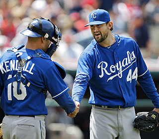 The complete-game win is sweet for Luke Hochevar, who had lost his previous three starts vs. Cleveland. (AP)