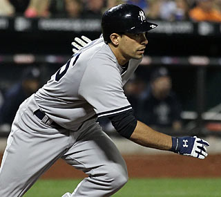 Kevin Russo makes his first career RBI hit count, knocking in the Yankees' only two runs.  (Getty Images)