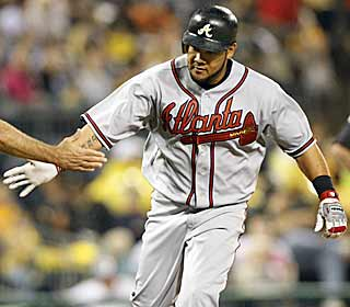 Melky Cabrera, who's had a lackluster start for the Braves, blasts his first home run in the second. (AP)