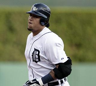 Miguel Cabrera blasts three impressive home runs, but his Tigers still lose to the Athletics.  (AP)