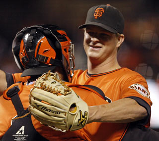 Matt Cain strikes out a season-high nine to rack up the second one-hitter of his career.  (AP)