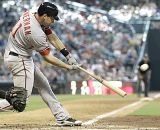 Ryan Zimmerman (2 for 2, 4 RBI) contributes with this three-run HR in the Nats' record-setting inning.  (AP)