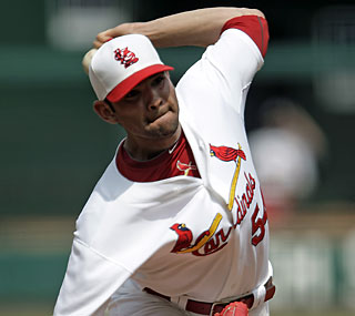 Lefty Jaime Garcia earns the victory Monday and leads NL rookies in wins (5) and strikeouts (51).  (AP)