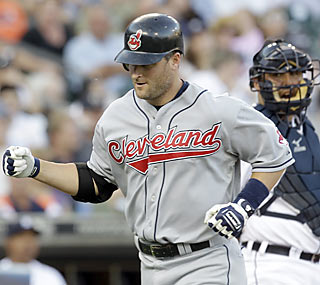 Russell Branyan puts the Indians up on the scoreboard with a solo shot in the fifth inning.  (AP)