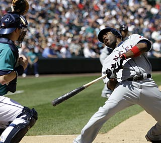 Torii Hunter dodges this inside pitch, but the Mariners can't dodge him as he accounts for three RBI.  (AP)