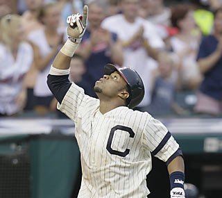 The Indians get plenty of productivity from rookie Carlos Santana, who homers and drives in three runs.  (AP)