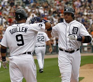 Miguel Cabrera puts the Tigers on top with his key three-run homer in the eighth inning.  (Getty Images)