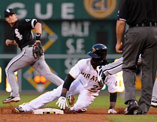 Andrew McCutchen matches his career-best with three stolen bases in the loss. (US Presswire)