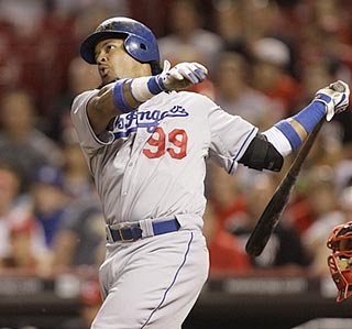 Manny Ramirez's 552nd career home run pushes the Dodgers' lead to 8-0 in the seventh inning.  (AP)
