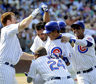 As a pinch-hitter, Kosuke Fukudome starts the rally in the eighth before driving in the winning run in the ninth. (AP)
