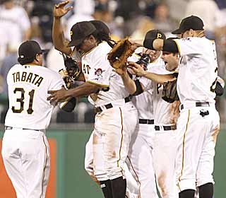 Finally, something to celebrate.  With a win, the Pirates avoid tying the team's longest skid in 120 years. (AP)