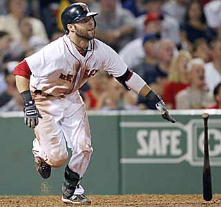 Manny, who? For the second straight game Dustin Pedroia plays the role of hero with three hits. (AP)