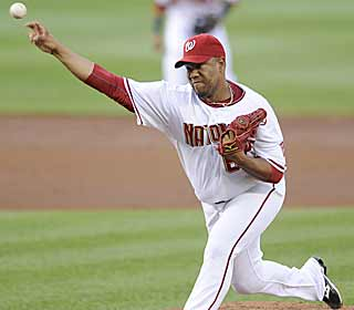 Livan Hernandez gives up one run over seven in his longest outing in more than a month. (AP)