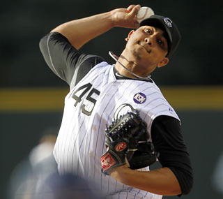 Jhoulys Chacin walks five but yields just four hits through 6 2/3 scoreless innings to end his losing streak.  (AP)