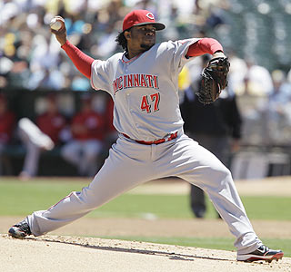 Over seven innings, Johnny Cueto allows only seven hits, no runs and strikes out four.  (AP)
