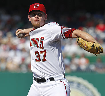 Stephen Strasburg records his 41st strikeout in his fourth start -- breaking Herb Score's record of 40.  (AP)