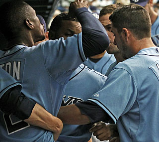 Frustrations are rising for the Rays as B.J. Upton and Evan Longoria clash in the dugout.  (AP)