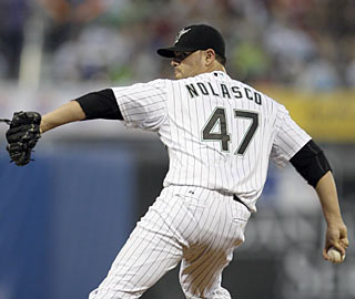 Ricky Nolasco gets back on track by holding the Mets to just four hits while tying a season high with nine K's.  (AP)