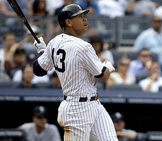 This go-ahead HR in the eighth by A-Rod averts the first sweep by a visitor at the new Yankee Stadium. (AP)