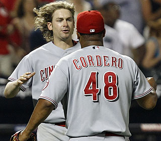 Bronson Arroyo shows his appreciation after Francisco Cordero closes out the win for him. (AP)