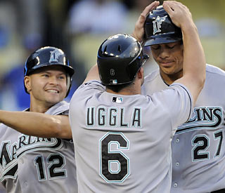 Mike Stanton (27) is heating up. The rookie slugger blasts a three-run HR in the second off Hideki Kuroda.  (AP)