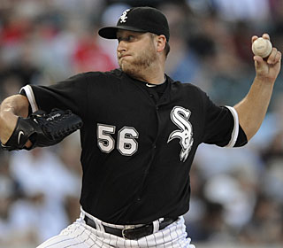 Mark Buehrle allows just six hits in this outing and improves to 5-1 in his last six starts. (AP)