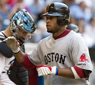 Darnell McDonald starts the Red Sox scoring with a two-run home run in the sixth inning.  (AP)