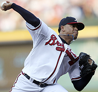 Jair Jurrjens shuts down the Brewers, allowing just one earned run over 6 2/3 innings.  (AP)