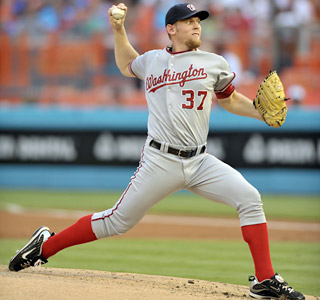 Stephen Strasburg improves to 4-2 after striking out seven in six innings. (US Presswire)