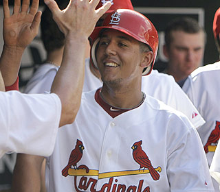 Jon Jay sees his 12-game hitting streak end, but he gets involved and scores a run in the win. (AP)