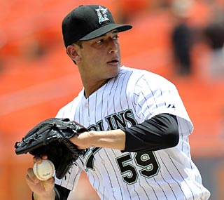 Alex Sanabia notches his first win in his second start, going 5 1/3 innings with no runs allowed.  (US Presswire)