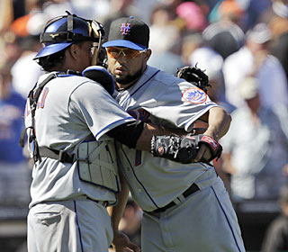 Francisco Rodriguez blows his fifth save opportunity but picks up his third win.  (AP)