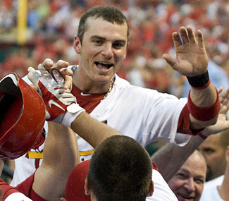 Cardinals rookie Allen Craig joins in on the home run fun with the first round-tripper of his career.  (US Presswire)