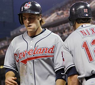 Trevor Crowe leads the Indians hit parade with a career-high four and drives in two runs.  (AP)