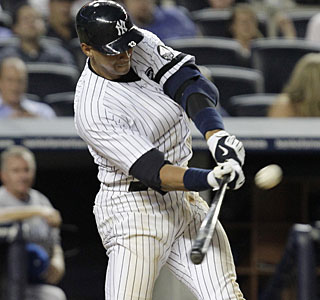 It's a see ya later swing for Alex Rodriguez, his 599th career home run. (AP)